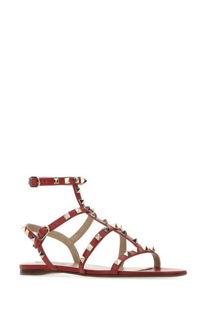 Tiziano red leather Rockstud sandals