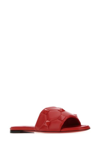 Red nappa leather Roman Stud slippers