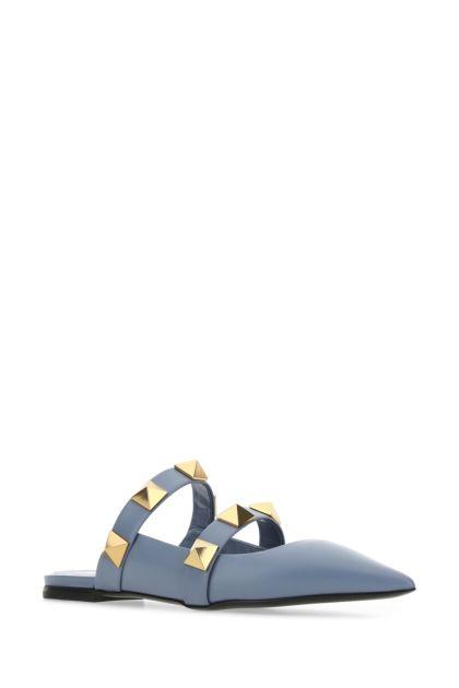 Powder blue leather Roman Stud slippers
