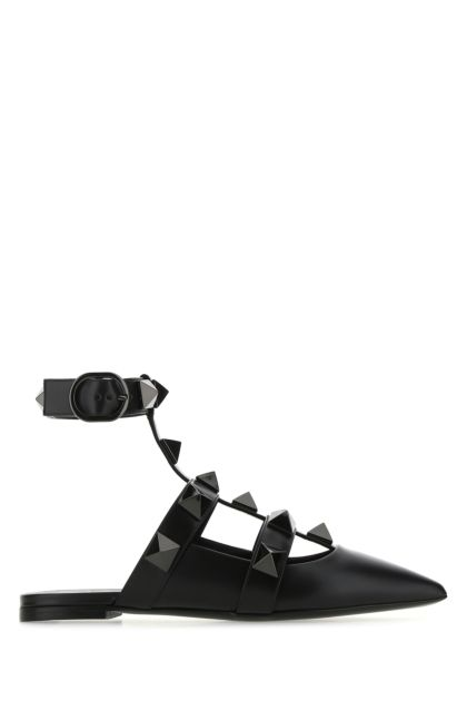 Black leather Roman Stud ballerinas