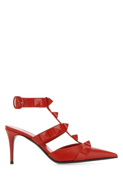 Red leather Roman Stud pumps