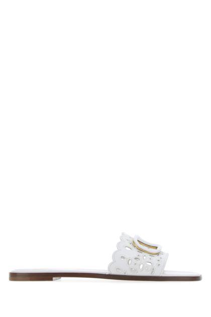 White leather Vlogo  Signature slippers