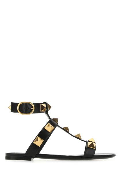 Black leather Roman Stud sandals