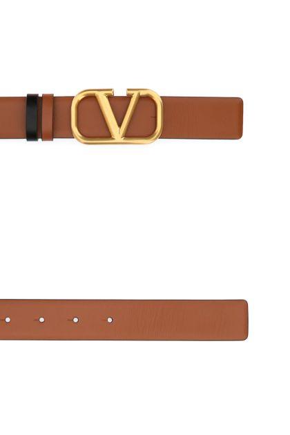 Biscuit leather VLogo Signature reversible belt