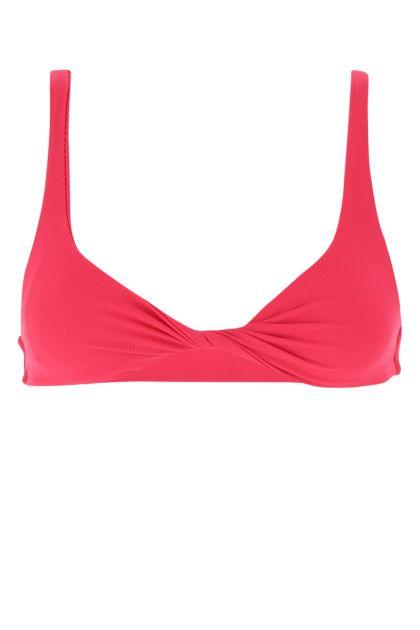 Fuchsia stretch nylon bikini top