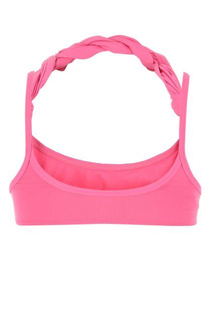 Dark pink stretch nylon bikini top