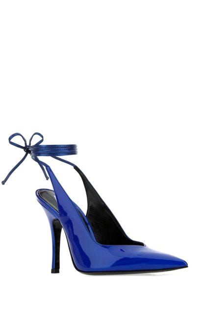Electric blue synthetic leather Venus pumps