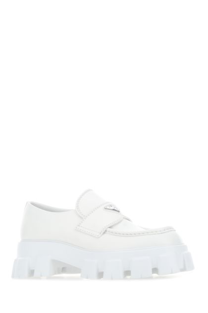 White leather Monolith loafers