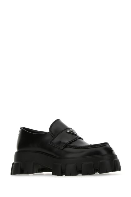 Black leather Monolith loafers