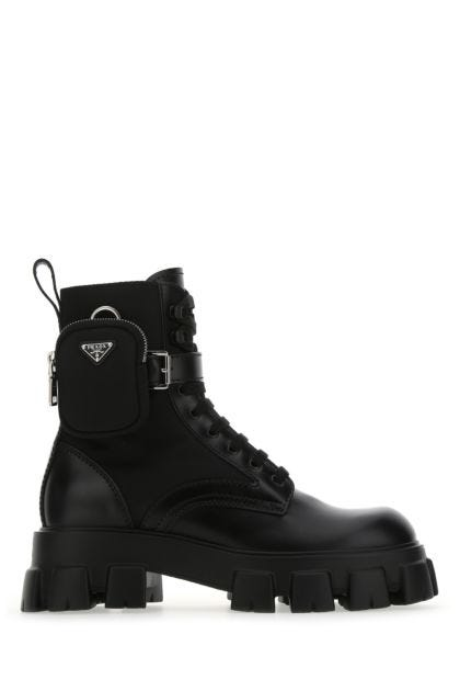 Black leather and Re-nylon Monolith boots