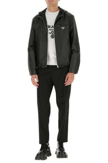Black nappa leather reversible jacket