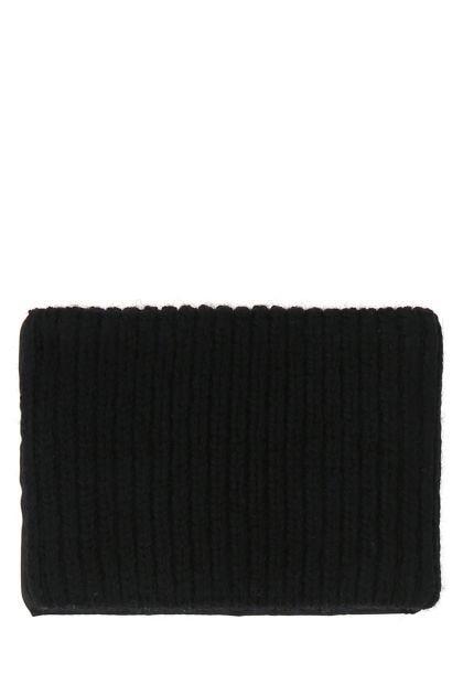 Black stretch wool blend cuff