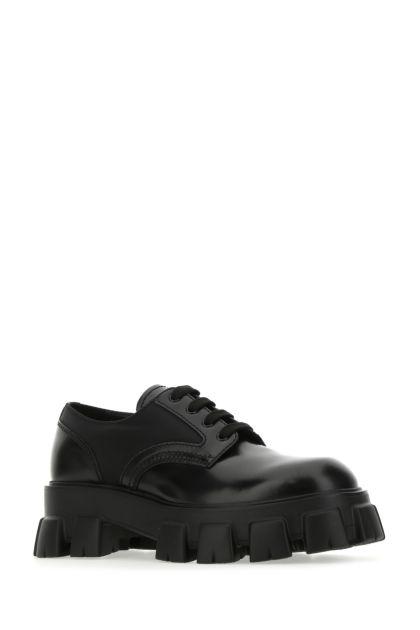 Black leather Monolith lace-up shoes