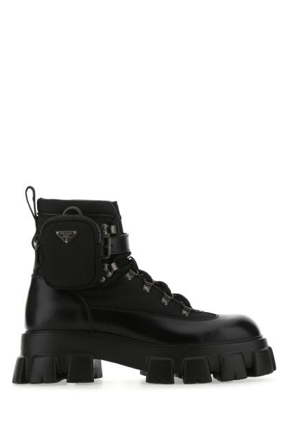 Black leather and nylon Monolith ankle boots