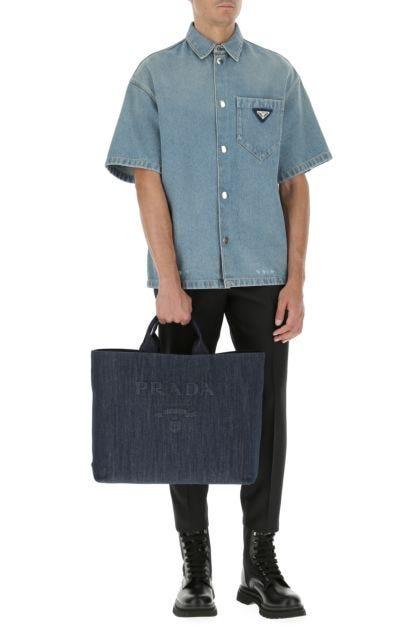 Blue denim shopping bag