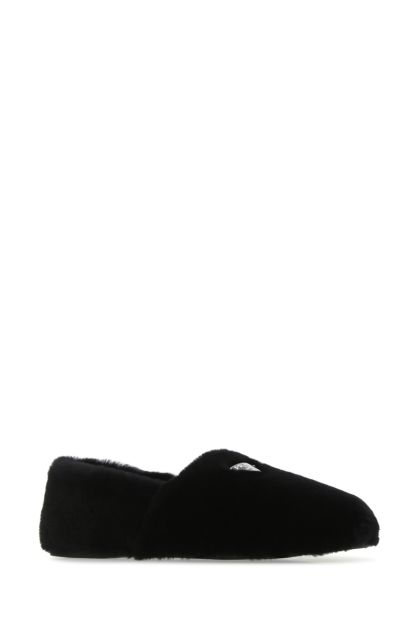 Black shearling loafers