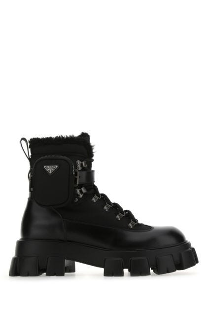 Black Re-nylon and leather Monolith ankle boots