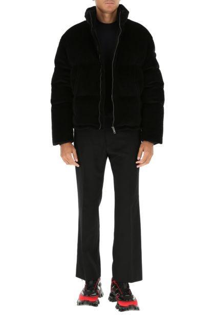 Black corduroy down jacket