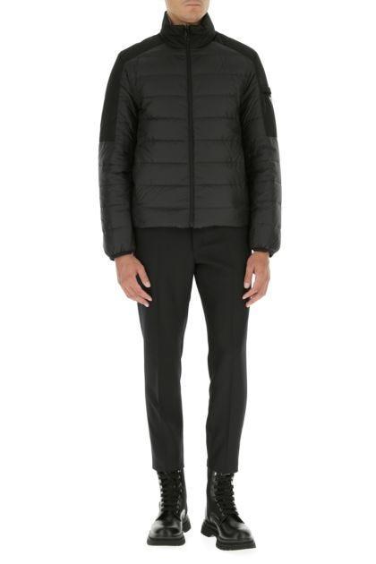 Black polyester reversible down jacket
