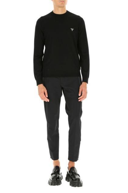 Black stretch polyester pant