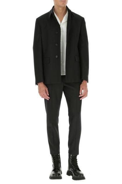 Black polyester blend blazer