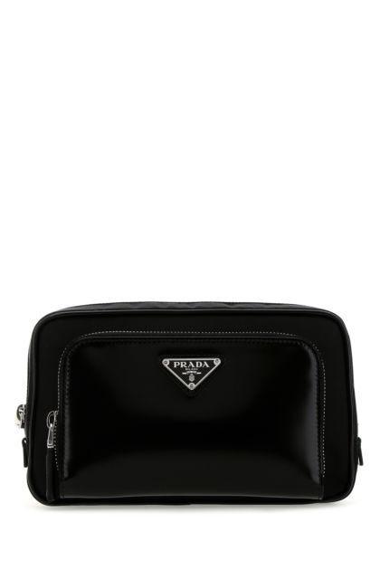 Black nylon and leather belt bag