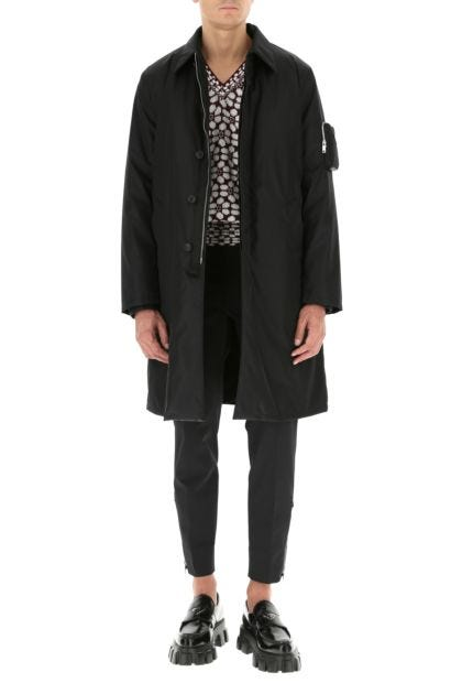 Black Re-nylon raincoat