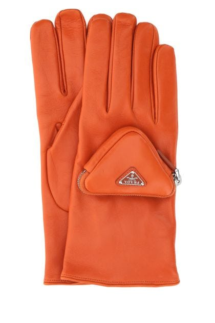 Orange nappa leather gloves