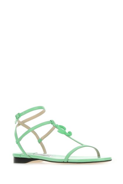 Sea green nappa leather Alodie Flat sandals