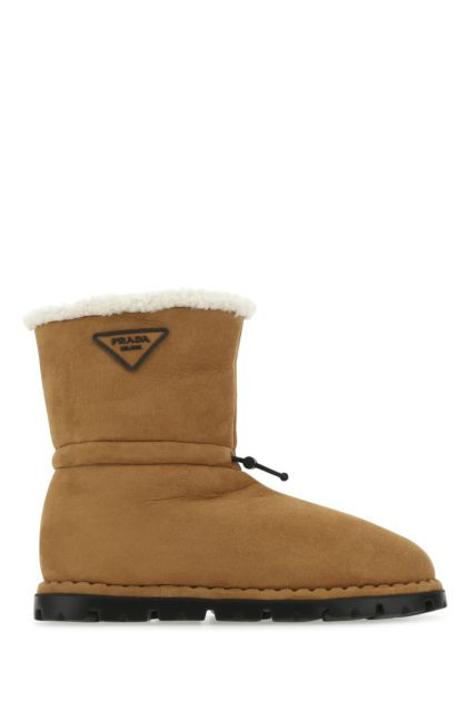 Camel shearling boots