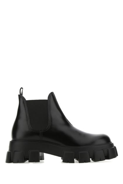 Black leather Monolith ankle boots