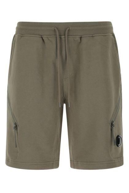 Army green cotton bermuda shorts