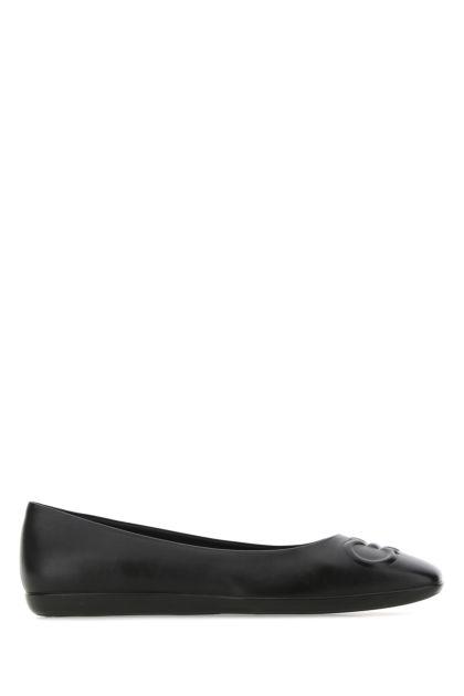 Black leather Gancini ballerinas