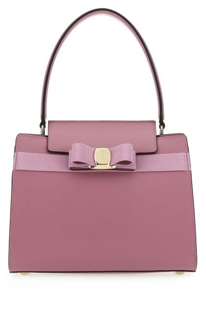 Dark pink leather handbag