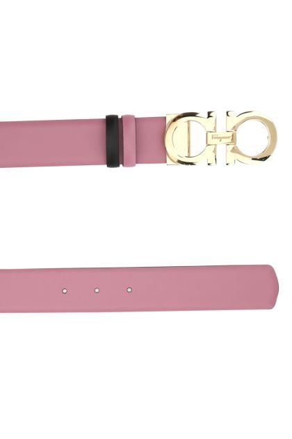 Dark pink leather Gancini reversible belt