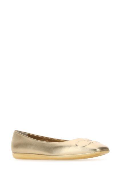 Gold leather Gancini ballerinas