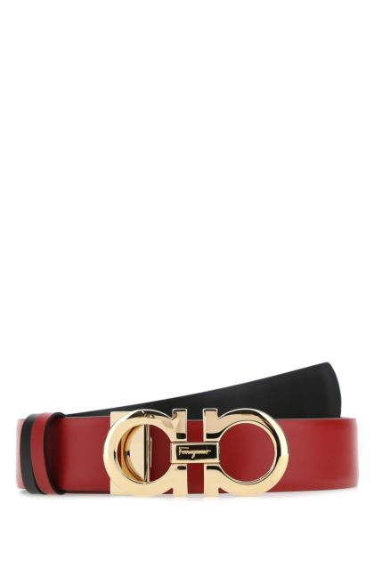 Red leather reversible belt