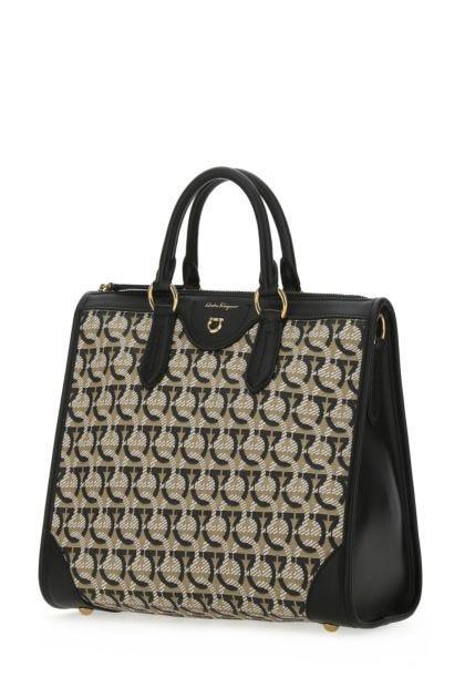 Printed fabric and leather Gancini handbag