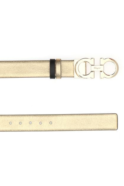 Gold leather Gancini reversible belt