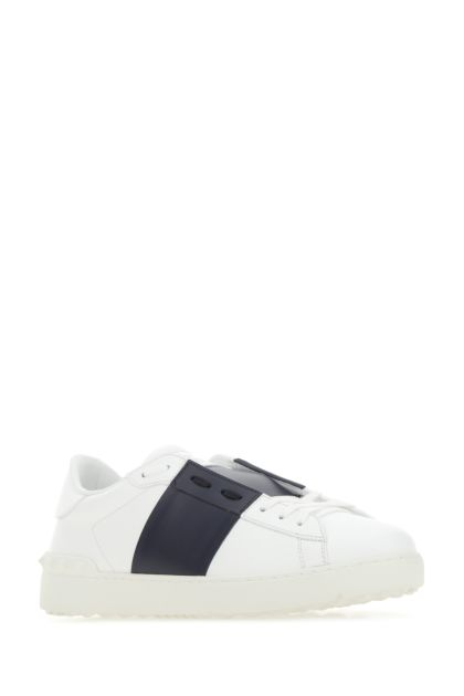 White leather Open sneakers with midnight blue band