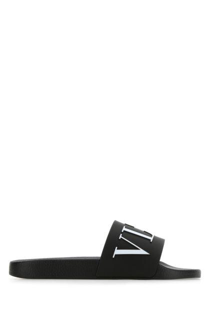 Black rubber VLTN slippers