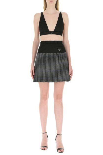 Multicolor wool and Re-Nylon mini skirt