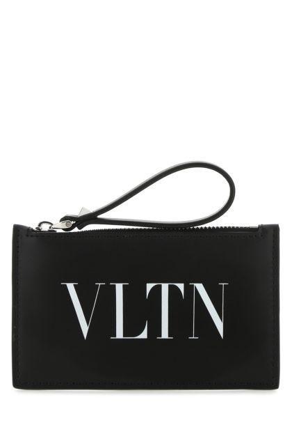 Black leather VLTN card holder