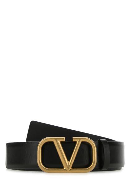 Black leather VLogo Signature belt