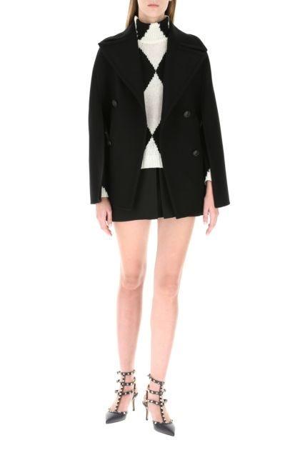 Black wool blend cape