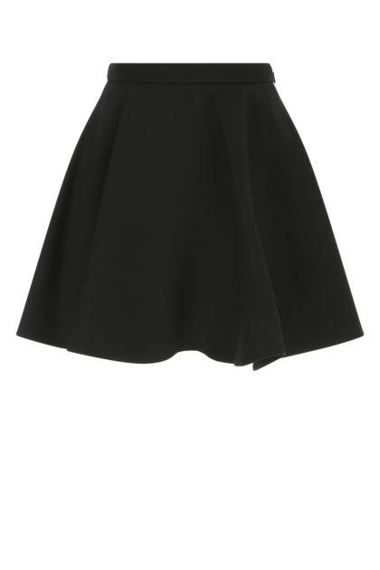 Black wool blend skirt