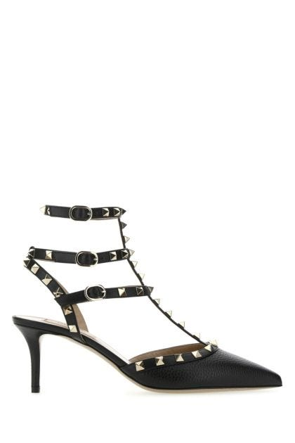 Black leather Rockstud pumps