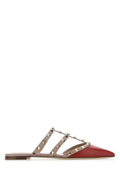 Red leather Rockstud slippers