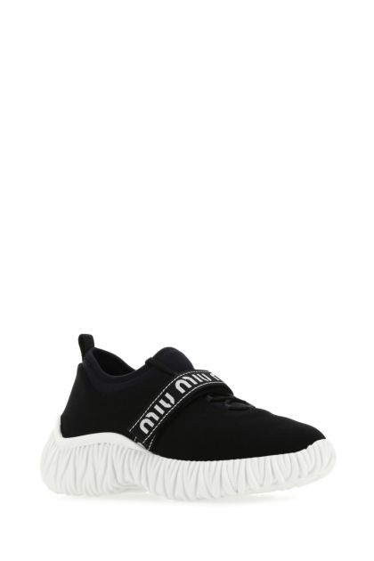 Black stretch fabric sneakers