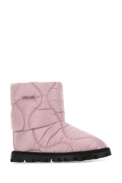 Pink nylon ankle boots